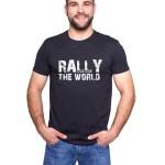 Czarna koszulka z nadrukiem Rally The World